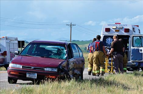 Three people were taken to the hospital after their vehicles collided on Highway 93 near St. Ignatius Wednesday, July 13.