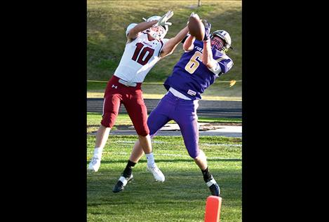 Matthew Rensvold has the first touchdown attempt knocked down but scores two more touchdowns on receptions from Pirate quarterback Tanner Wilson later in the game.