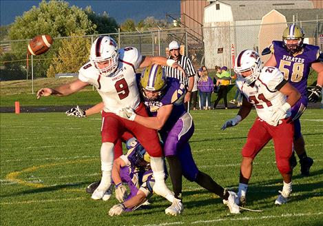 Walter Wood forces a Broncs fumble, recovered by Pirate Cameron Brown.