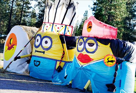Ronan's Hay Bale contest has grown this year with several decorated in Pablo, including Indian Minions at the People's Center,