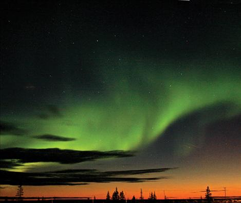 The aurora borealis, or Northern Lights, near Churchill boasts vivid colors.