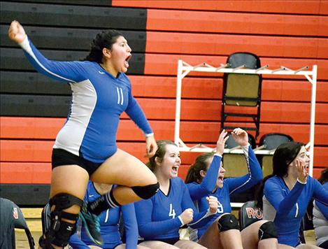 Mission's Addison Arlint reacts to a Lady Bulldog point.