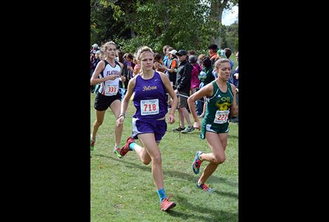 Polson's Beatrix Frissell sprints to a 19:07 finish.
