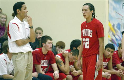 Head coach JR Camel talks with his nephew and point guard Zach Camel during Arlee's game against Two Eagle.