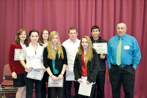 Ronan High School BPA members Sabrina Schreiner, Keenan Hall, Ashley Boles, Danielle Richwine, TJ Webb, Courtney Molzhon, Zach Wagner and adviser Ron Hanson will be heading to the state BPA conference March 10-12 in Billings after all eight students qualified for state at the Jan. 14 regional  competition held in Kalispell.