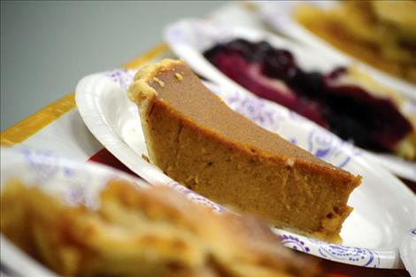 A variety of pies await hungry mouths at Ronan's Community Dinner on Thanksgiving Day, but the traditional pumpkin pie takes the cake.