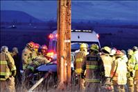 Emergency crews work to free crash victim