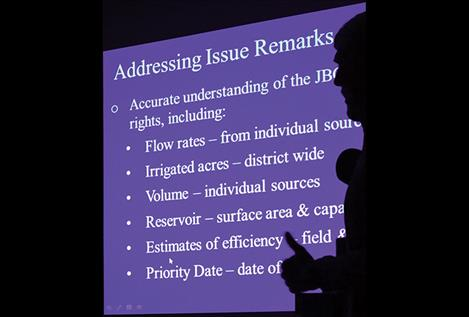 Representatives from Applied Water Consulting company presented water rights adjudication information at the Last FJBC meeting.