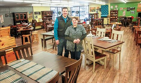 Chriss Stutzman, with wife and co-owner, sell Amish-crafted home furnishings from their store in Polson.
