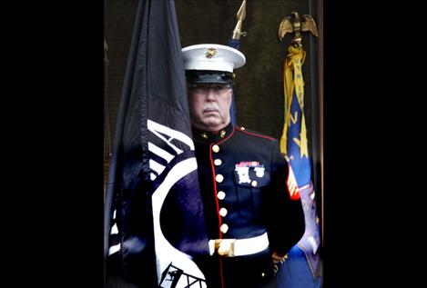 Marine veteran Chuck Lewis of Ronan volunteers with local honor guards at funerals, parades, and other veteran-related events.