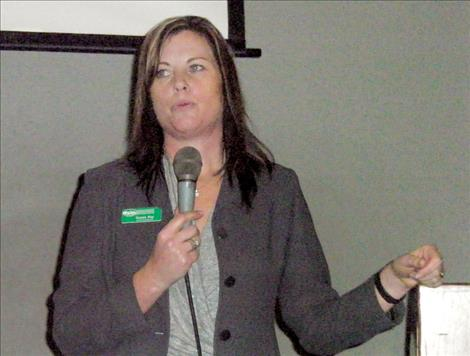 Gypsy Ray, executive director of the Lake County Community Development Corp., speaks at the Polson Chamber of Commerce luncheon last week.
