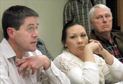 Randy Arnold, a regional supervisor with Montana Fish, Wildlife and Parks, speaks at the Flathead Basin Commission meeting in Polson last week. Also pictured are commissioners Jasmine Brown and Jim Simpson.