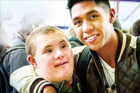 Dothan Stein and Omar Perez buddy up during the Respect Rally Feb. 7 at Polson High School.