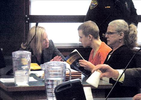 Stephen Seese sits with his public defender, Lisa Kauffman of Missoula, on right, during his Feb. 15 sentencing.