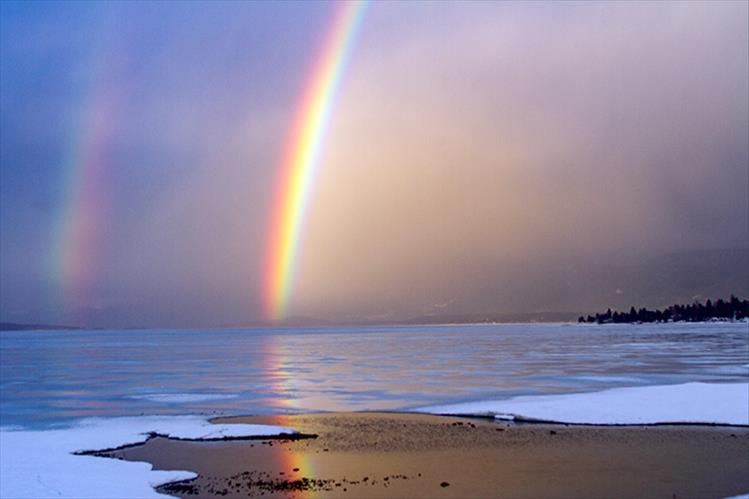 Double rainbow over Polson Bay