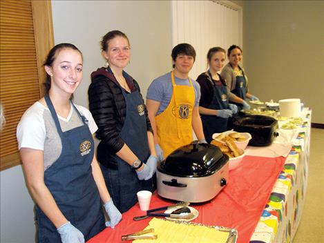 "Members of Polson's Key Club served up ""fixins"" with buffalo burgers last week at the Kiwanis Club's 21st annual Buffalo Feed."