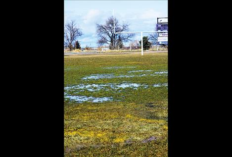 The Charlo football field fills with water in the spring months, and the Charlo Community Outdoor Complex board is raising funds to update the field and track and help prevent it from becoming what is often called a soggy mess.