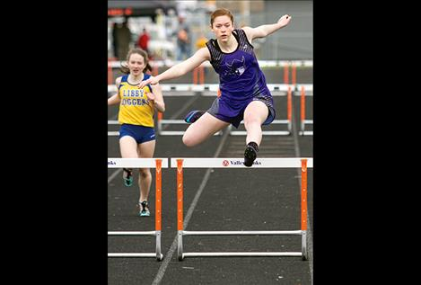 Charlo's Allie Delaney takes first place in the 300 hurdles