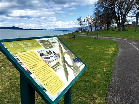 More than a dozen interpretive signs are posted along the walking path between Salish, Sacajawea and Riverside Parks in Polson.