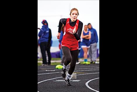 Arlee's Ashley Revis breaks out of the starting blocks.