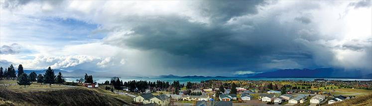 Polson's Lakeview Cemetery provides a panoramic view of approaching storm clouds.