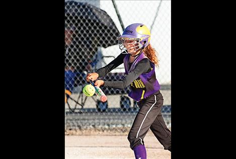 Polson Purple Wave's Nikki Kendall lays down a bunt during the championship game.