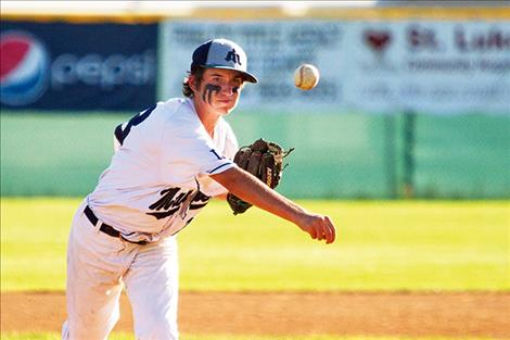 Mariners' Daniel Kelsch throws some heat during Sunday's game against Glacier.