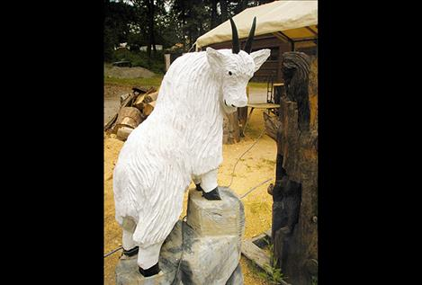 In addition to bears, Coats carves other animals, including mountain goats.