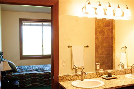 Upscale bathrooms offer a touch of luxury.