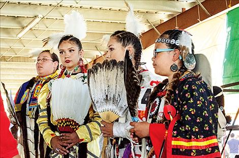 Miss Salish Pend d'Oreille hopefuls wait to hear who will be crowned this year's representative.