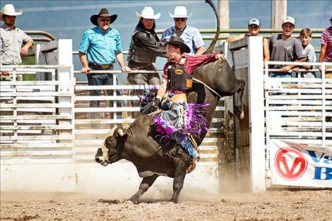 Arlee cowboy Tyler Pierre looks good coming out of the chute.