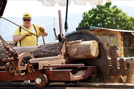 Larry Eslich operates the  museum's sawmill during the  annual Live History Days event.