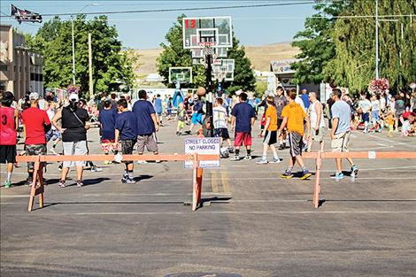 Closed Polson streets were full of 3-on-3 basketball action.