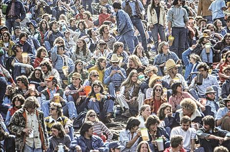 Crowd shot from a 1970s Aber Day concert.