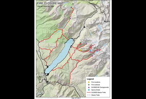 The locations  of several  lightning- sparked  fires  in Glacier  National Park  are noted  to the left.