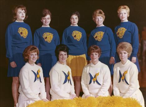 Carol Jones (back row, middle) cheered with the Montana State Bobcats.