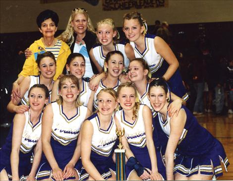 Carol Jones, top left, has coached Polson High School cheerleaders throughout the past 28 years.