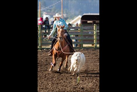 Polson cowgirl Kyla Blixt ropes one.