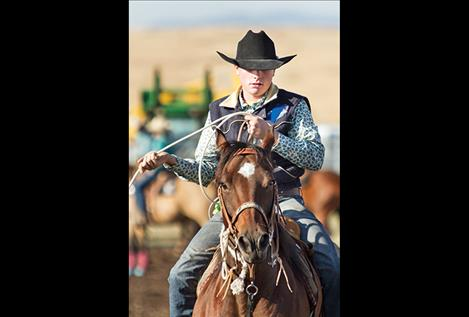 Polson cowboy  Willy Lytton scored a time  of 32.34 in the  team roping  event where  cowboys and  cowgirls from  across Montana  gathered at  Polson on  Sept.16.
