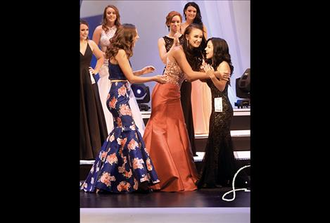 Teagan Gray's name is announced as the third runner up during the Miss Montana Teen USA pageant.