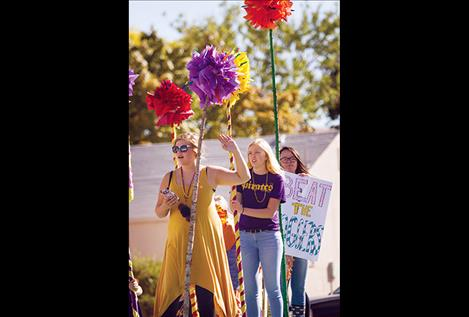 A Polson  High School homecoming float moves through town.