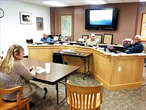 Caleb M. Soptelean/Valley Journal Flathead Basin Commission Executive Director Caryn Miske speaks with Lake County Commissioners on Oct. 3.
