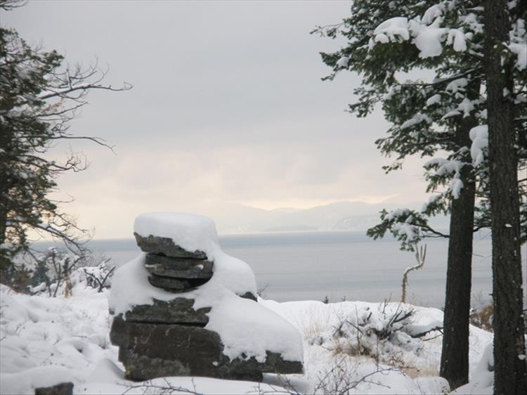 A quiet winter setting on Flathead Lake at Wayfarer's State Park up near Bigfork.