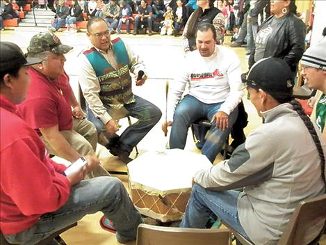 The Pache Ramblers provided drumming for the powwow.