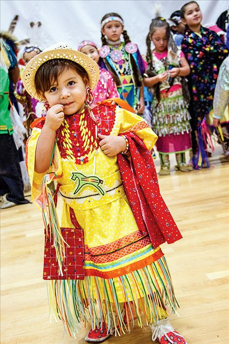 Kendalynn Dusty Bull participates in the powwow.