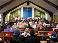 Spiritual hymns,  jovial tunes peformed during  concert