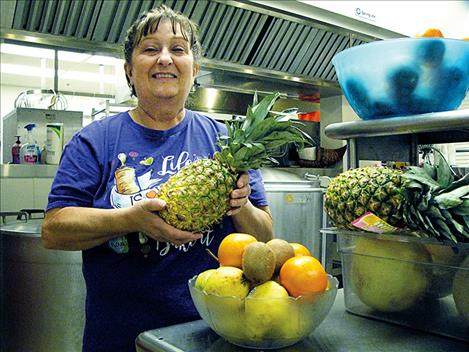 Ronan Schools Food Service Supervisor Marsha Wartick implemented a fresh fruit food bar for breakfast at Ronan Middle and High Schools 17 years ago. Wartick has worked for the school district for 18 years.