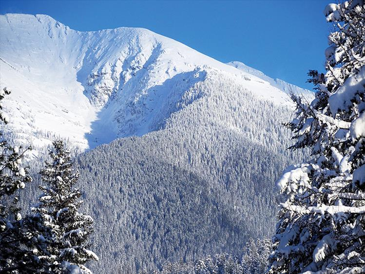 Winter wonder: Snow-covered East St. Mary's Peak rises 9,425 feet and is the second highest peak of the Mission Range.