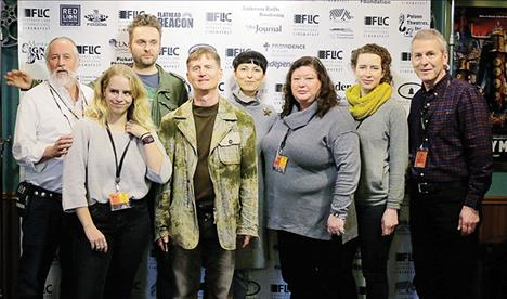 FLiC winners and event directors pose for a photo following announcement of awards. From left are: Frank Tyro (FLiC co-director), Moriah Bame (Best Picture Short Honorable Mention), Dawid Marcinowski (Cinematic Labyrinths), John David Ware (Best Picture Feature), Kasia Keifert (Cinematic Labyrinths), Nancy J. Lilley (Best Documentary), Samara Lerman (Best Female Actor), David King (co-director).