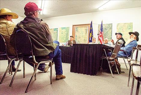 Mission and Jocko irrigation district members attend a meeting on Tuesday at the former FJBC office.